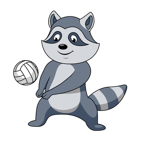 coon: Cartoon raccoon player character with volleyball ball for sport or mascot theme design Illustration