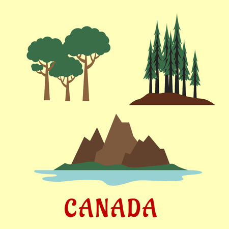 rocky: Canadian nature and landscape flat icons with coniferous and deciduous forest and rocky mountains Stock Illustratie
