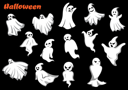 shapes cartoon: Flying Halloween monsters and ghosts isolated on dark background. For seasonal holiday and party theme design