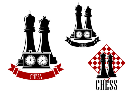 chess player: Chess tournament icons with black kings and queens behind game clock, decorated by ribbon banner and another variant with chessboard