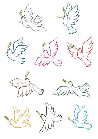 Flying doves with green olive tree branches isolated on white background. Peace conceptual icons, for religion or freedom design Illustration
