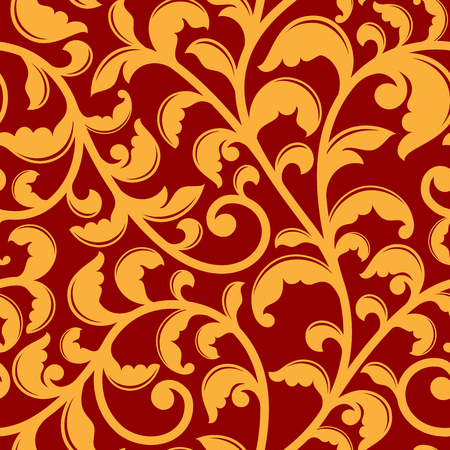 swirl patterns: Seamless pattern with yellow flourishes in baroque style on red background. For background, interior or fabric design Illustration