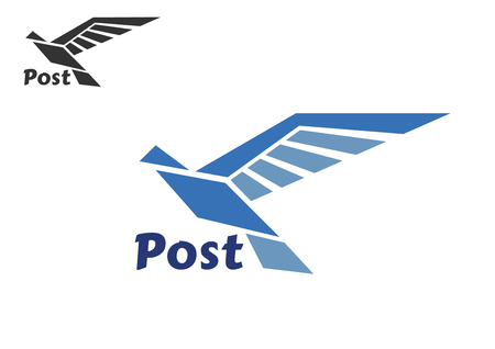 postal: Blue bird silhouette with long wings isolated on white background. For postal or transportation theme Illustration