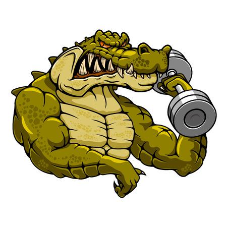 Sterke gespierde krokodil bodybuilder cartoon mascotte met domoor voor fitness of gymnastiek mascotte thema