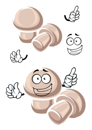 champignon: Happy fresh champignon mushroom cartoon characters with round white cap and short stipe. For cafe menu or food themes design Illustration