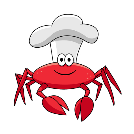 toque: Smiling red crab chef cartoon character in white cook hat for seafood, restaurant or menu theme design