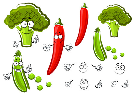 in peas: Green pea pod, broccoli and red chilli pepper vegetables cartoon characters with smiling faces. For vegetarian food or agriculture theme