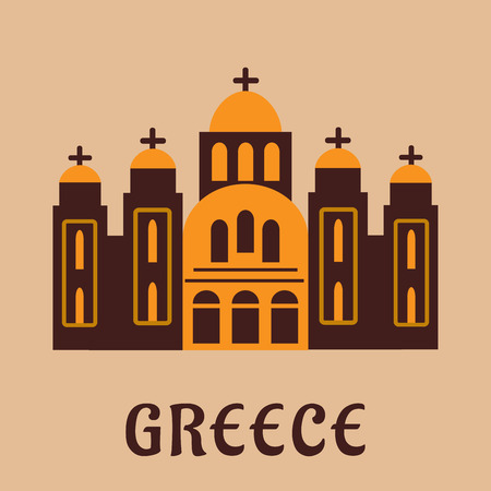 Greek church flat icon of old Saint Andrew cathedral  temple. For travel theme design