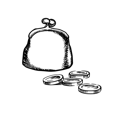 metal: Big vintage purse with metal clasp and coins isolated on white background,  sketch icon