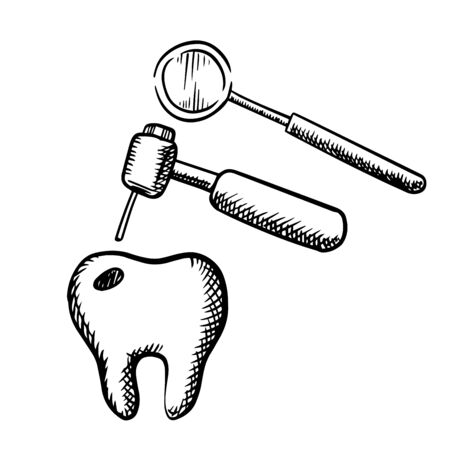 dental treatment: Tooth with decay, dental drill and mirror, isolated on white background for teeth treatment or dentistry design, outline sketch