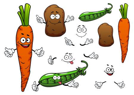 Gelukkig oranje wortel, bruin aardappel en groene erwt pod groenten stripfiguren op een witte achtergrond voor vegetarisch voedsel of landbouw thema