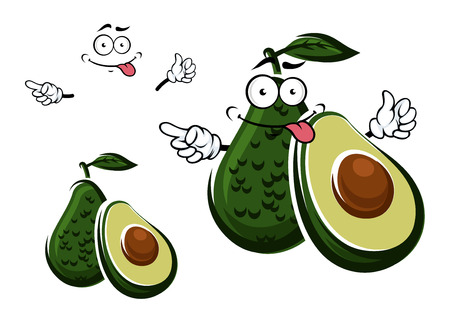 Ripe tropical whole and half avocado fruit cartoon character with dark green leaf and large round seed on the cut