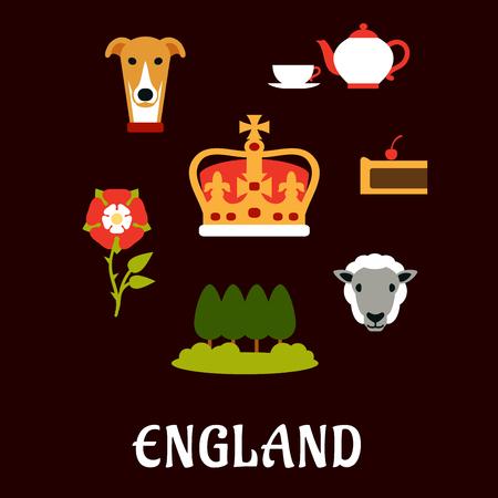uk cuisine: England traditional symbols flat icons with heraldic tudor rose, park landscape, royal dog, tea set, pie, sheep and Emperor crown