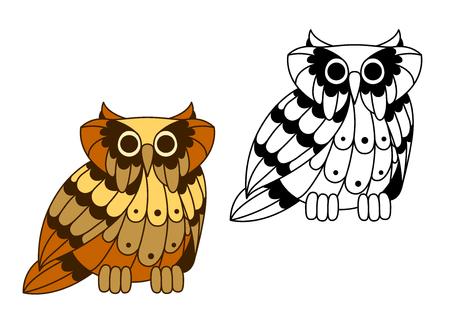 Cartoon Eagle Owl Charakter Mit Zweiten Variante Im Umriss-Stil, Für ...