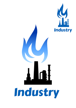 industry design: Industrial plant or factory silhouette icon with pipes, chimney and tank storage and blue flame for oil or gas industry design