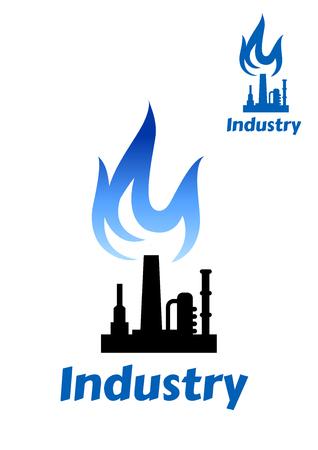 industria quimica: Planta industrial o icono de la silueta de la fábrica de tubos, chimenea y almacenamiento del tanque y la llama azul de petróleo o gas industria de diseño