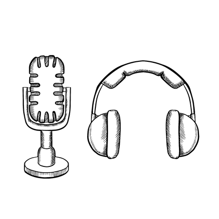 old pc: Retro headphones and desktop microphone with stand isolated on white background, sketch icons