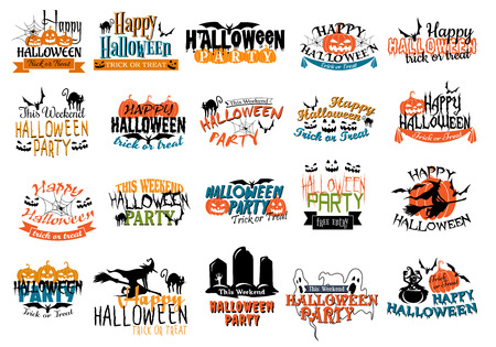 ghouls: Halloween horror and eerie banners with pumpkins, cats, skulls, witch, spiders, graves, bats, gosts and ghouls for party themes design Illustration