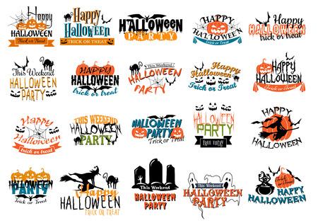 wiedźma: Halloween horror i mroczne transparenty z dyni, koty, czaszki, czarownice, pająki, groby, nietoperzy, gosts i ghule na imprezę tematów projektu