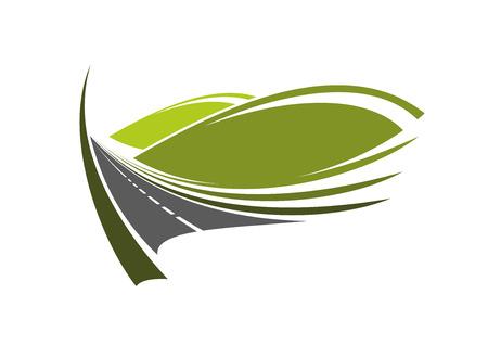 Bergweg icoon met moderne snelweg loopt door de groene vallei met koepelvormige heuvels, voor reizen of vervoer thema's