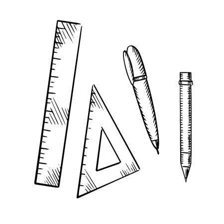ballpoint: Pencil, ballpoint pen, triangle and ruler icons isolated on white background, sketch style