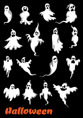 Halloween ghosts, ghouls and monsters set. For holiday party design, isolated on background Illustration