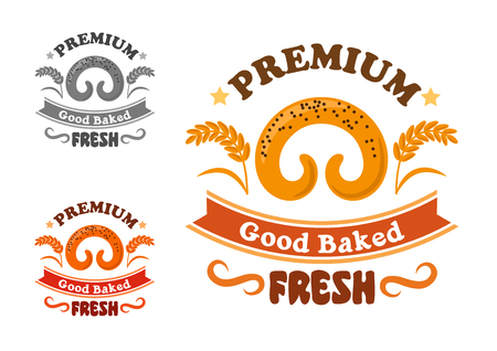 sweet bun: Bakery or pastry shop sign with horn shaped sweet bun with poppy seeds, wheat ears, stars and ribbon banner