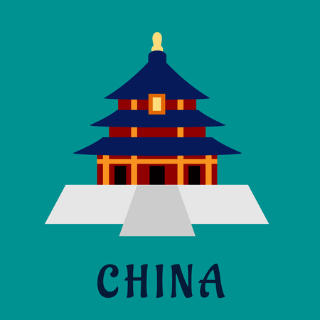 place of worship: Ancient chinese Temple of Heaven with traditional pagoda tower on high base with blue roof, for travel design. Flat style