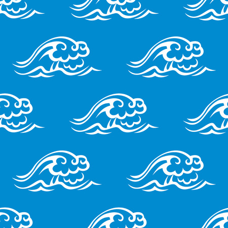 billow: Stormy ocean waves seamless pattern with white waves on blue background,  for marine theme or textile design Illustration