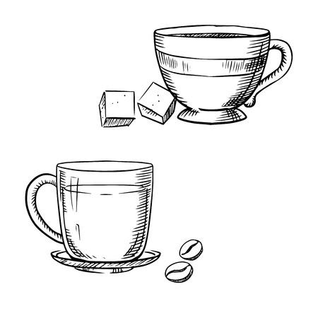azucar: Porcelana y vidrio copas elegantes de café y té con terrones de azúcar y granos de café tostado, aisladas sobre fondo blanco, describen el estilo de dibujo Vectores