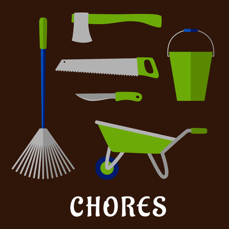 chores: Gardening tools and chores flat icons with rake, bucket, wheelbarrow, hand saw, axe and knife