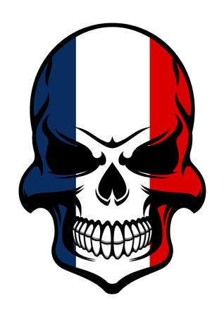 Piraatschedel gekleurd in de nationale kleuren van Frankrijk op een witte achtergrond, voor tatoeage of t-shirtontwerp