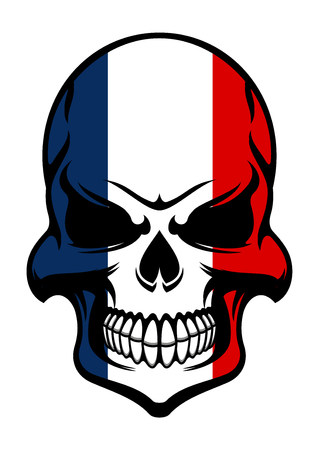 pirates flag design: Pirate skull colored in national colors of France isolated on white background, for tattoo or t-shirt design Illustration