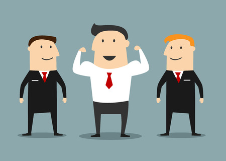 Smiling businessman show strength between bodyguards. Cartoon flat style Illustration