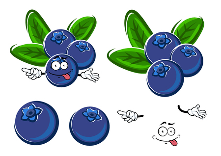 blueberries: Juicy blueberry fruits cartoon character with fresh green leaves and teasing smile, for healthy organic food or agriculture themes design