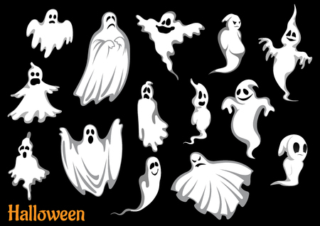Eerie fantasmas voladores y monstruos de Halloween, aislado en negro, para el diseño del partido de temporada