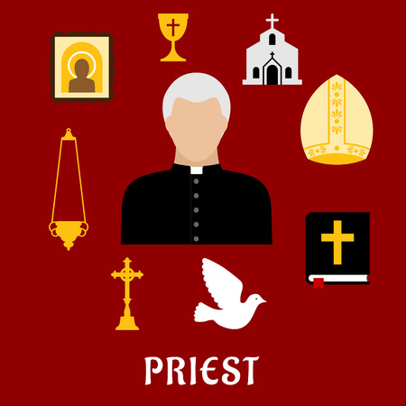 religion catolica: Profesión Sacerdote con símbolos planas de hombre maduro, rodeado de la Biblia, cruz de oro, tazón y candelabros, icono y la iglesia o templo, mitra y paloma blanca Vectores