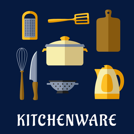 colander: Kitchenware flat concept with cooking pot, electric kettle, knife, wooden chopping board, whisk, grater, spatula and colander on dark blue background