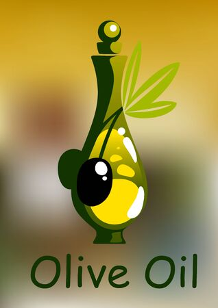 stopper: Olive oil bottle with rounded stopper and ripe black olive fruits on green leafy twig, for healthy vegetarian food design
