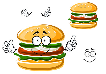 leaf lettuce: Funny hamburger cartoon character with beef patty, onion, cucumber and lettuce leaf on bun with sesame seeds. For fast food menu theme Illustration
