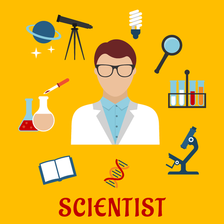 glasses model: Scientist profession flat icons with man in glasses among laboratory flasks and tubes, book and microscope, model of DNA, energy saving lamp, telescope with planet and stars, magnifying glass