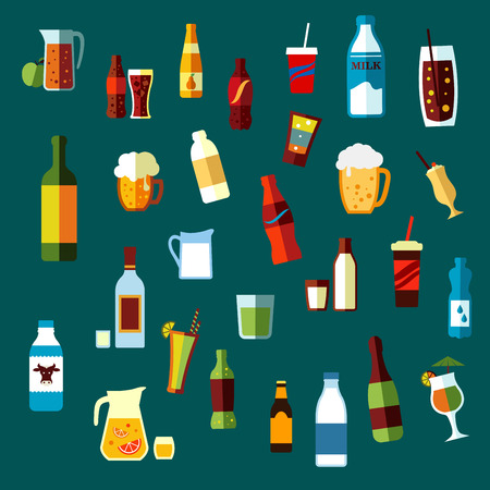 drink bottle: Beverages, cocktails and drinks flat icons of wine and beer, vodka and water, soda and juice, milk and champagne bottles, beer tankards and cocktail glasses,  lemonade and milk jugs, takeaway paper cups