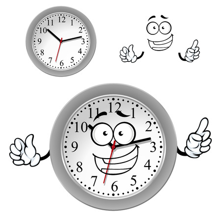 rim: Smiling office wall clock cartoon character with gray plastic rim for time concept design