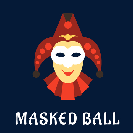 harlequin clown in disguise: Carnival mask of jester or joker in flat style with red collar and hat, decorated by bells on blue background with caption Masked Ball below