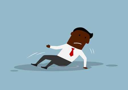 fell: Disappointed african american businessman fell and sitting in a puddle. For business failure concept theme design, cartoon flat style