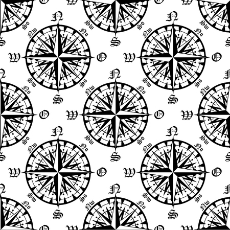 dial: Medieval marine compass rose seamless pattern with intricate rays and direction marks, for travel theme design
