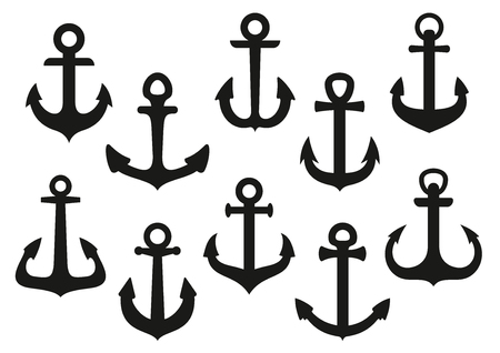 Nautical anchors black icons with heavy curved flukes isolated on white background,  for tattoo or heraldry themes design