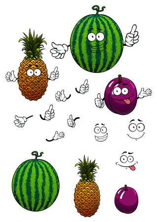 Juicy fresh cartoon watermelon, pineapple and plum fruits characters with funny smiling faces isolated on white