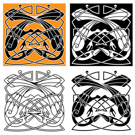 celt: Celtic vintage ornament with playing heron birds, intertwined by crests in tribal pattern. For medieval tattoo or heraldry themes design Illustration