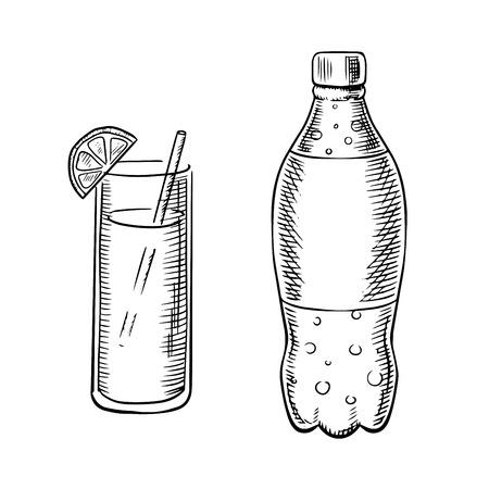 Fles koolzuurhoudende frisdrank met bubbels en cocktailglas met het drinken stro en schijfje citroen, schets